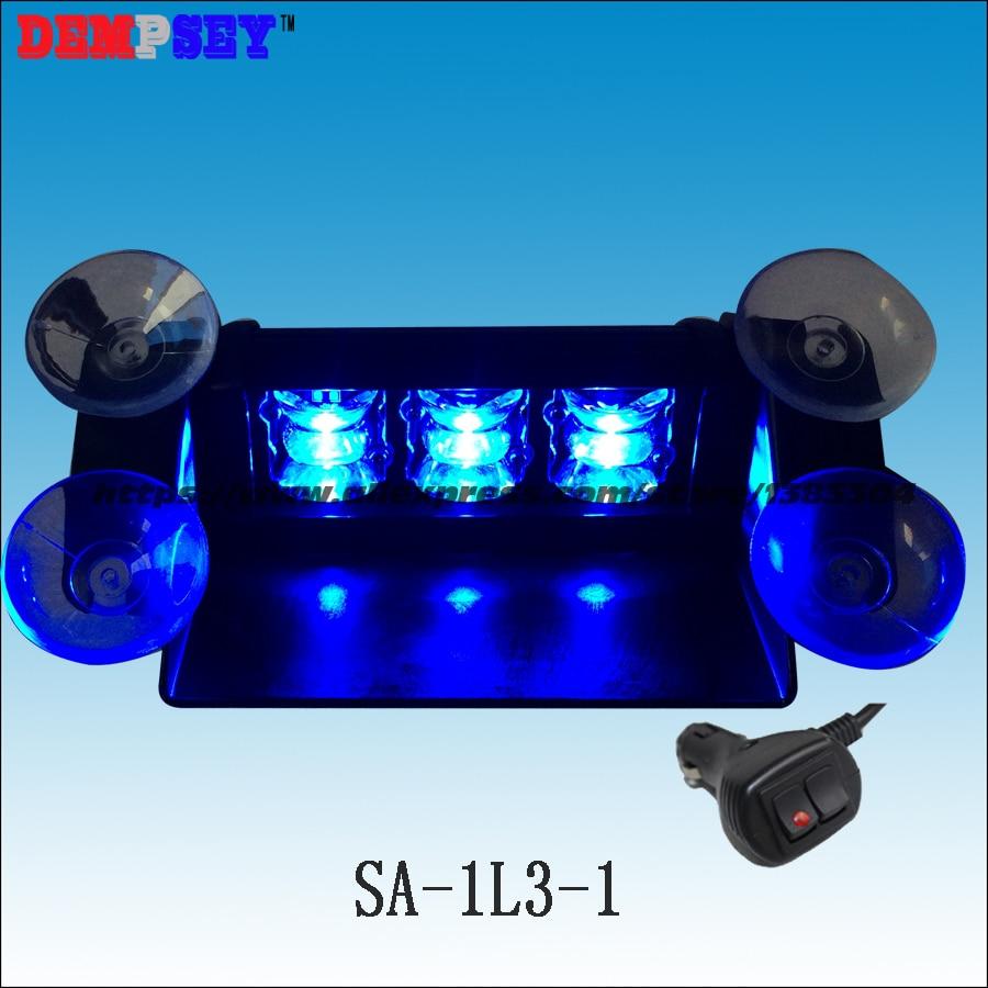 SA-1L3-1 Blue LED Inner Strobe Visor Light/12-24V LED Flash Warning Window Light/Universal Traffic Signal Light deck dash light
