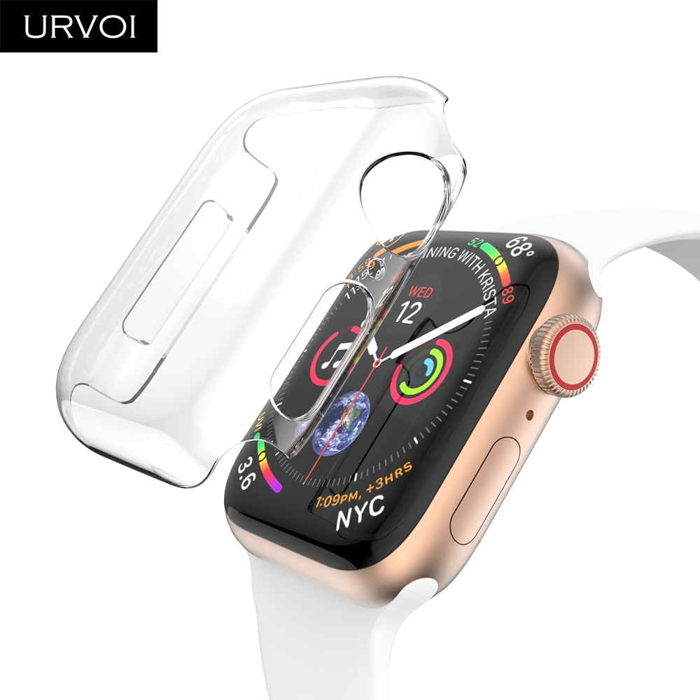 URVOI Clear Case For Apple Watch Series 4 3 2 1 Plastic Cover Screen Protector For IWatch 40 44mm Slim Fit Ultra-thin Frame Band