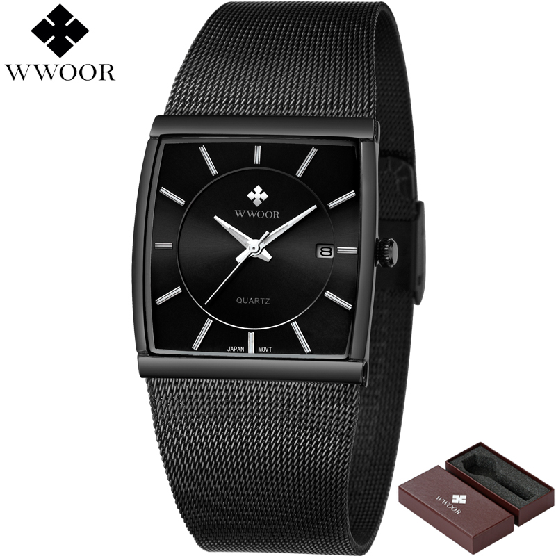 New Style WWOOR Brand Luxury Men Square Waterproof Stainless Steel Business Watch Men's Quartz Sports Watches Male Analog Clock постельное белье hobby home collection кпб семейный поплин paris spring бирюзовое