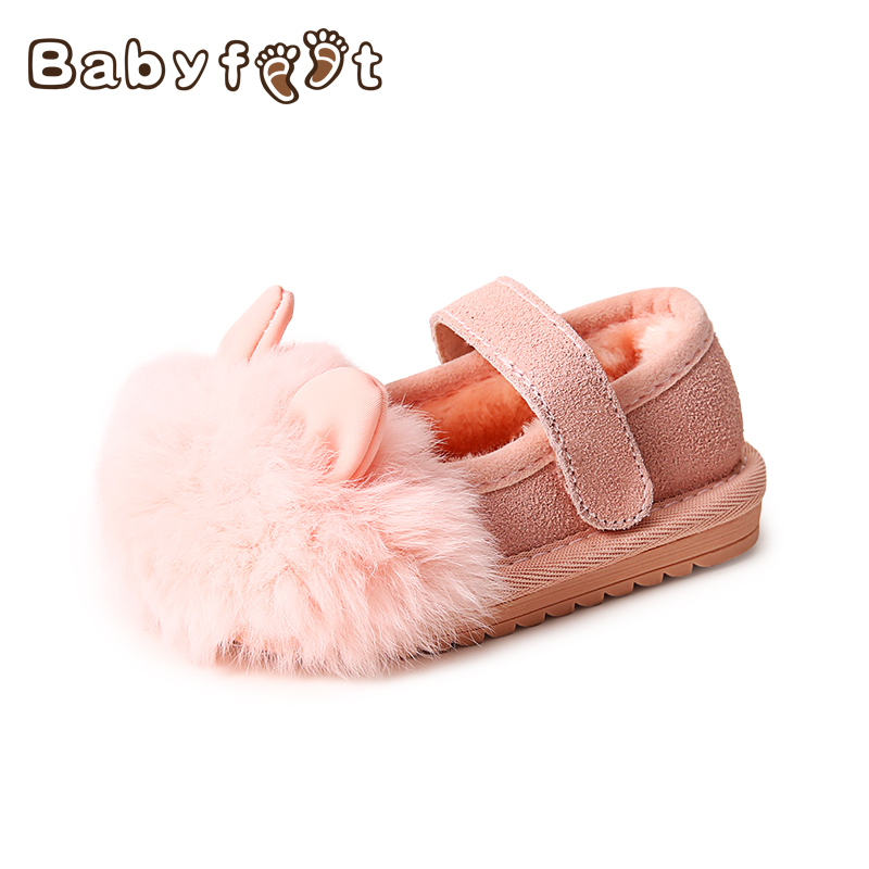 Babyfeet Winter children flat lazy shoes slip on bowtie Little girl infant sneakers Rabbit hair princess loafers Toddler shoes babyfeet 2017 winter children shoes fashion warm suede leather sport running school tenis girl infant boys sneakers flat loafers