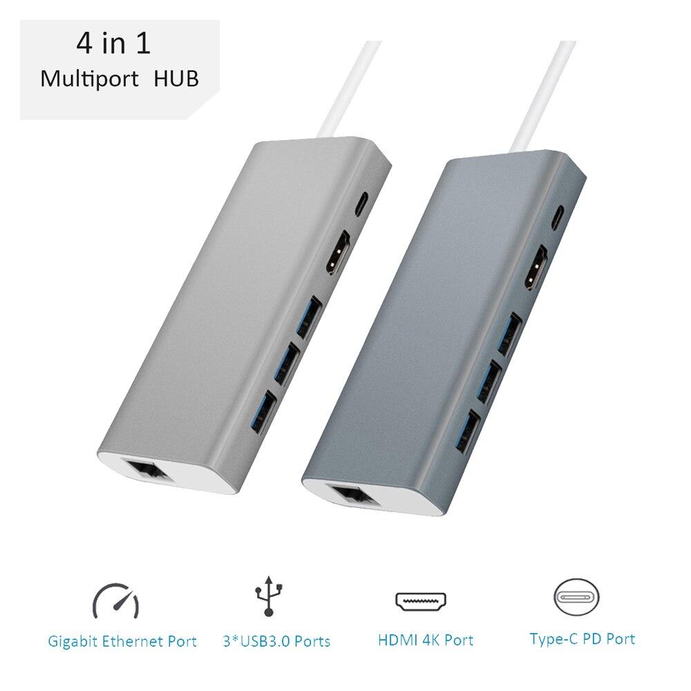 4-in-1 Multi-function USB 3.0 Type-C Hub Adapter Multiport USB-C HUB Converter RJ45 Gigabit Ethernet PD/HDMI 4K for MacBook