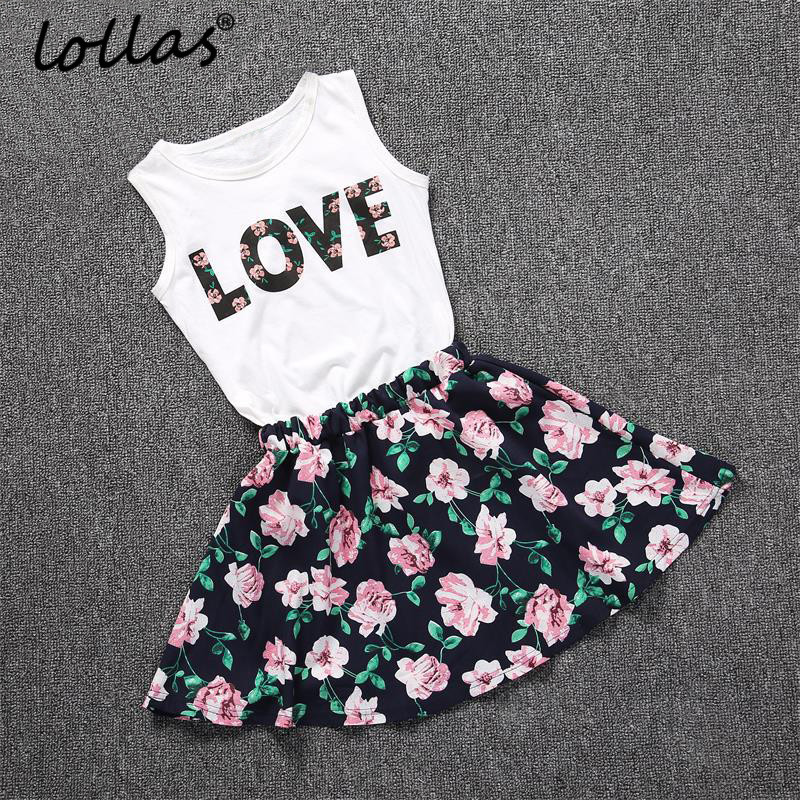 Lollas Summer New Girls Clothes Set Letters Printed Sleeveless Vest Tops Floral Skirt Dress Baby Girls Outfits Cotton Clothes infant toddler kids baby girls summer outfit cotton striped sleeveless tops dress floral short pants girls clothes sunsuit 0 4y