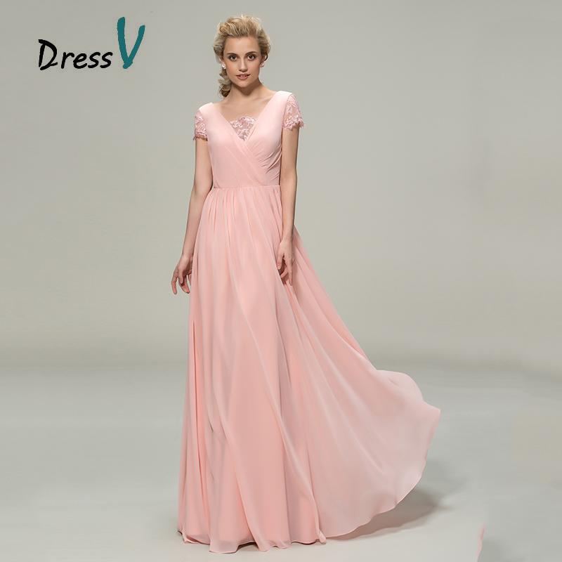 DressV Long Pale Pink Bridesmaid Dresses 2017 Romantic Lace V neck ...