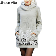 2014 Autumn Winter Wear Thick Women Pullover Hoodies Casual Solid Length Plus Size XL-5XL Hoodies&Sweatshirts Coat 0388