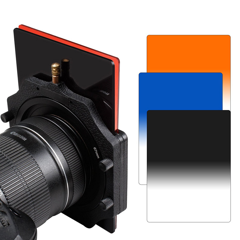 Zomei Square Z-PRO Series Filter Holder Support+67/72/77/82/86mm Adapter Ring+Gradual Orange+Gradual Blue+Gradual Gray 150*100mm