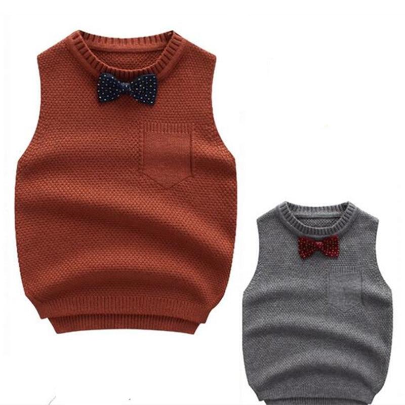Boys Sweater Autumn Winter Boy Vest With Bowtie Thick Children