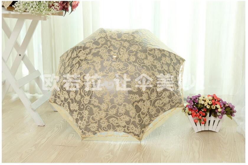 ad40251c91c0 1 piece Elegant embroidery lace girls summer sunny rainy portable parasol  mujer parapluie parasol umbrella - us3