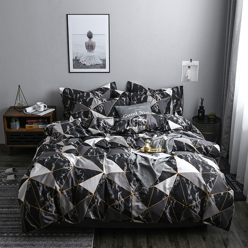 Home Textile black white Geometric Bedding Sets twin queen king size Bed Linen Duvet Cover Bed Sheet Pillowcase/bed SetsHome Textile black white Geometric Bedding Sets twin queen king size Bed Linen Duvet Cover Bed Sheet Pillowcase/bed Sets