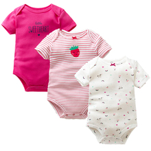 3 PCS/Lot Baby Rompers 100% Cotton Summer Newborn Baby Clothing Short Sleeve Car