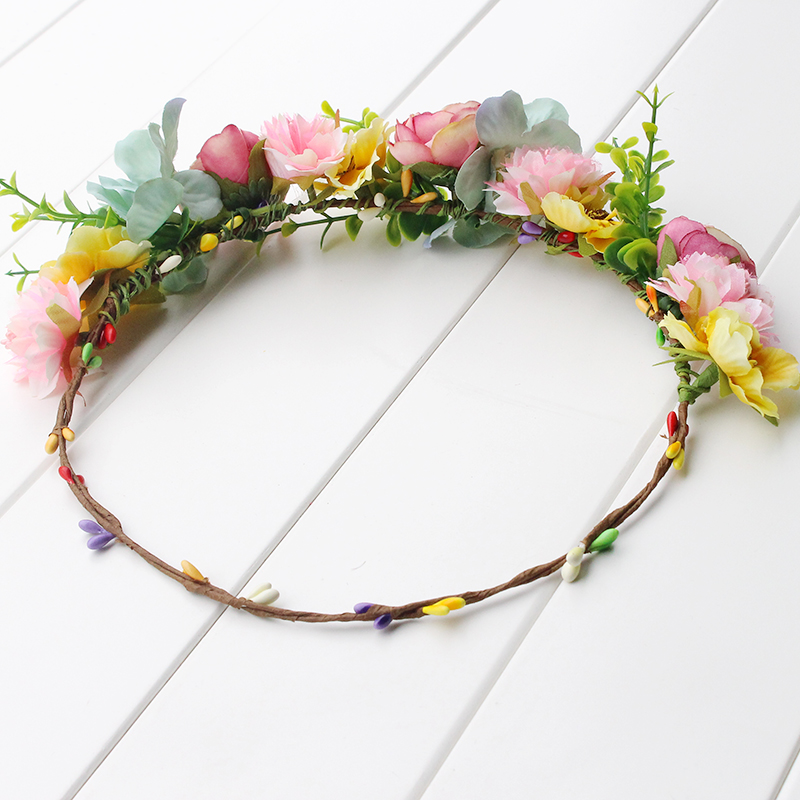 pink yellow green Flower Crown Headband Boho Hippie Festival Floral - Apparel Accessories - Photo 6