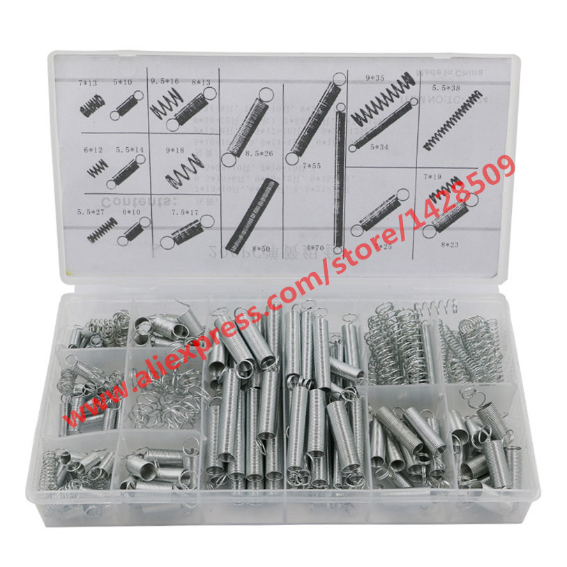 Compression Pressure Spring Extension Tension Spring 200 Pcs Muelles Metal Assortment With Suit Box spring compression spring extension torsion abrasives 300 0 5 5