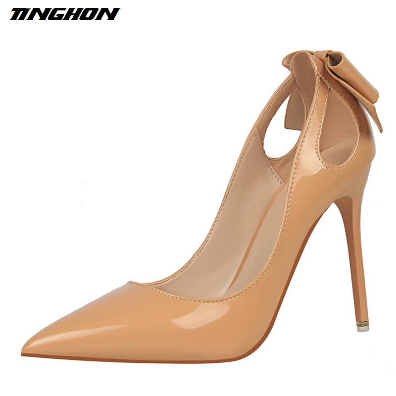 все цены на TINGHON Women High Heels Sexy Pumps Patent Leather Pointed Toe Bow Sweet Party Wedding Shoes Black Nude color Thin Heels онлайн