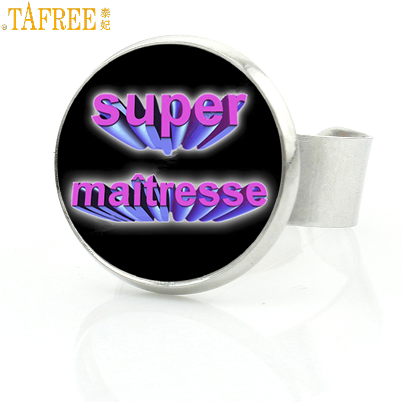 TAFREE 2017 new french style teachers charms super maitresse rings jewelry fashion men women merci ring best holiday gifts H115