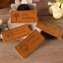 2017 New 4 styles 100 Pcs/Set Handmade Patchwork PU leather  Tags DIY Sewing label cloth Garment Labels For Accessories