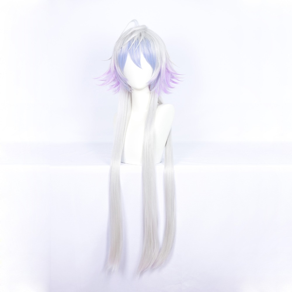 Fate/Grand Order Merlin Cosplay Wig 100 Cm Long Straight Silver Blue Purple Gradient Synthetic Hair For Halloween Party Gift