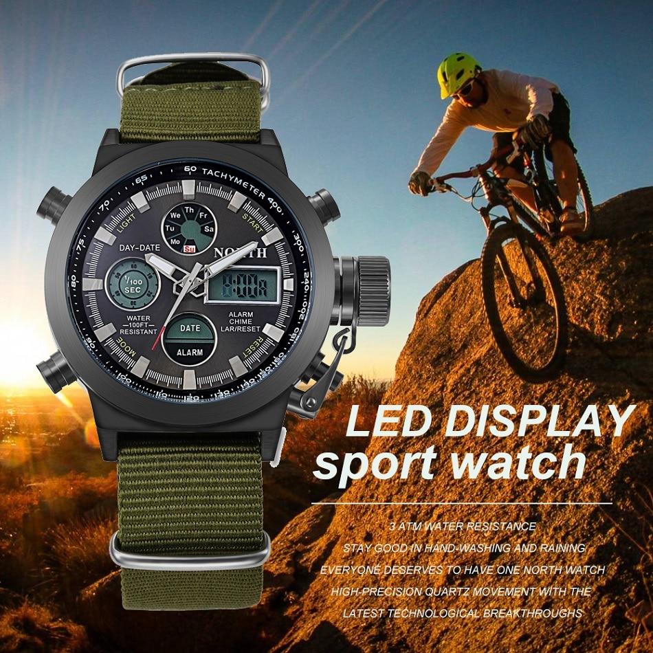 PÕHJA brändi mehed spordikell Nylon rihma kahekordne LED digitaalne - Meeste käekellad - Foto 2