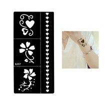 1 Sheet Temporary Black Henna Indian Heart Flowers Glitter Stencil Tattoo Bracelet Lace Women Body Art Tattoo Sticker Paper S257
