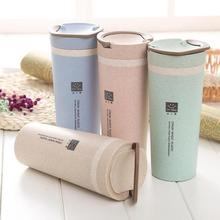450ml Thermos Flasks  portable Camping Climbing Sports Outdoor Drinkware Water Bottle Double deck Wheat straw Insulation Cup L35