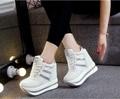 Marca de moda de Primavera de Las Mujeres de alta cuña zapatos ocasionales Femeninos 12 CM Aumento de la Altura Zapatos de Mujer Mocasines Plataforma de Lona Zapatos de Un Solo