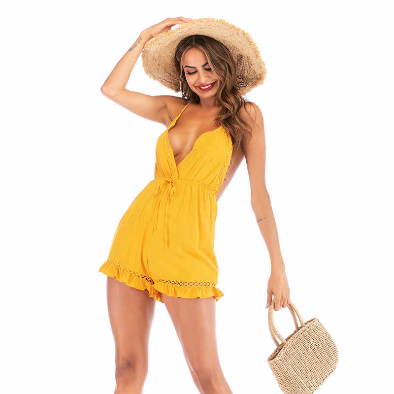 rompers womens jumpsuit shorts summer 2019 backless halter v-neck yellow playsuit one piece outfit sexy ruffle beach romper 6024