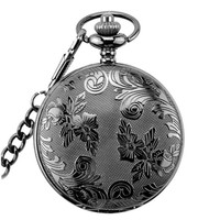 Vintage Pocket Watch Mechanical Men Women Necklace Pocket Watch With Chain Luminous Dial Carved Case nightmare before christmas