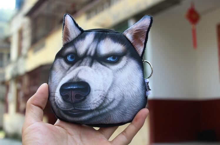 NEW 3D Printing Dog Coin Purses Doge Husky Puppy coin bag Women wallets Plush Zipper bag 20pcs/Lot
