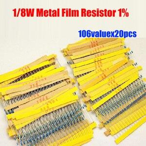 Filme metálico 0.125w, 2120 peças 1/8w, kit de resistor 10r ~ 1m