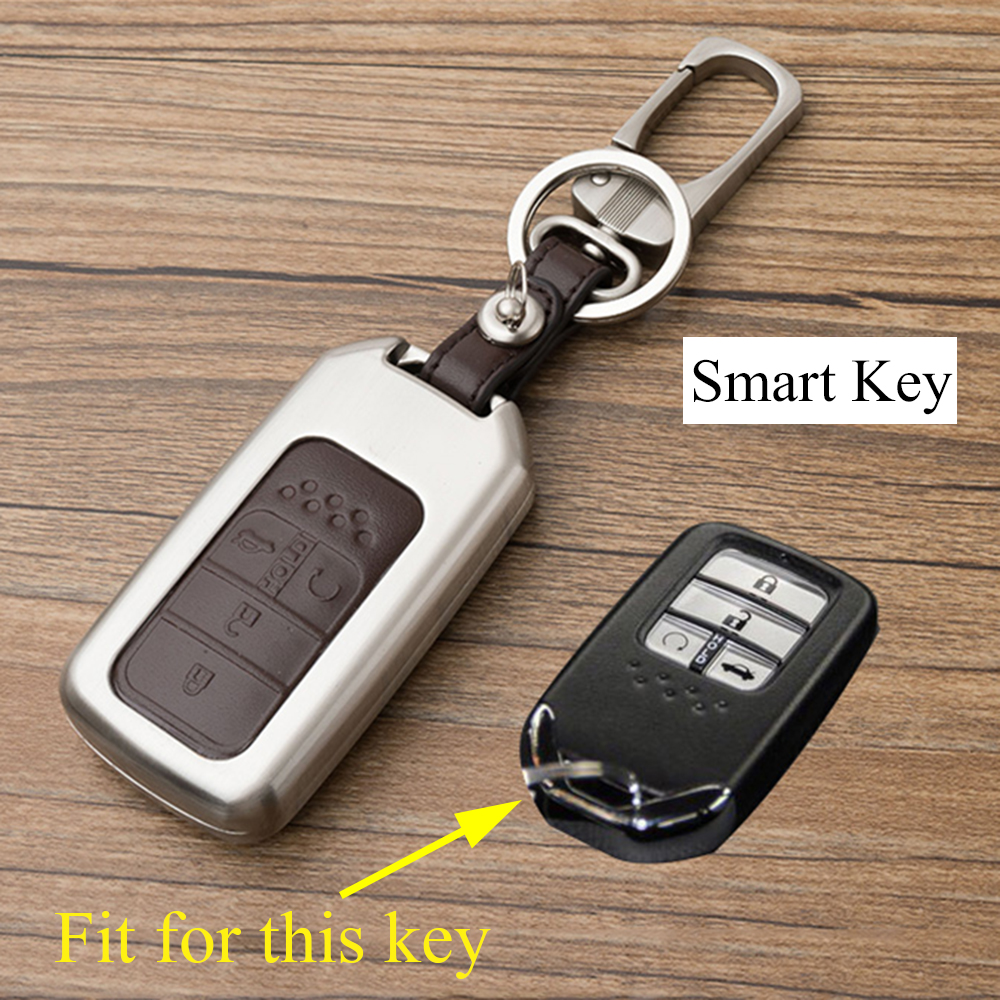 Alloy Remote Key Bag Shell Holder Case Chain Cover Fit For <font><b>Honda</b></font> Civic <font><b>Accord</b></font> <font><b>2016</b></font> 2017 <font><b>Accessories</b></font> Smart 4 Buttons Key Fob Trim image