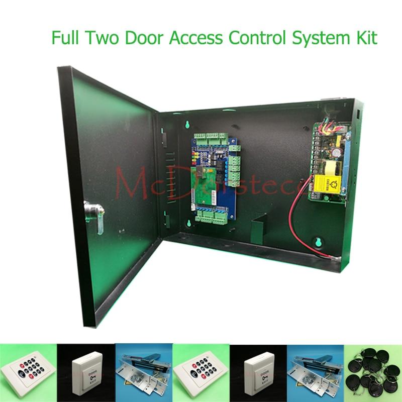 DIY Полный Две Двери Система Контроля Доступа 125 кГц Rfid Клавиатуры Контроллер Доступа Двойной Двери Контроля Доступа Kit + ZL кронштейн