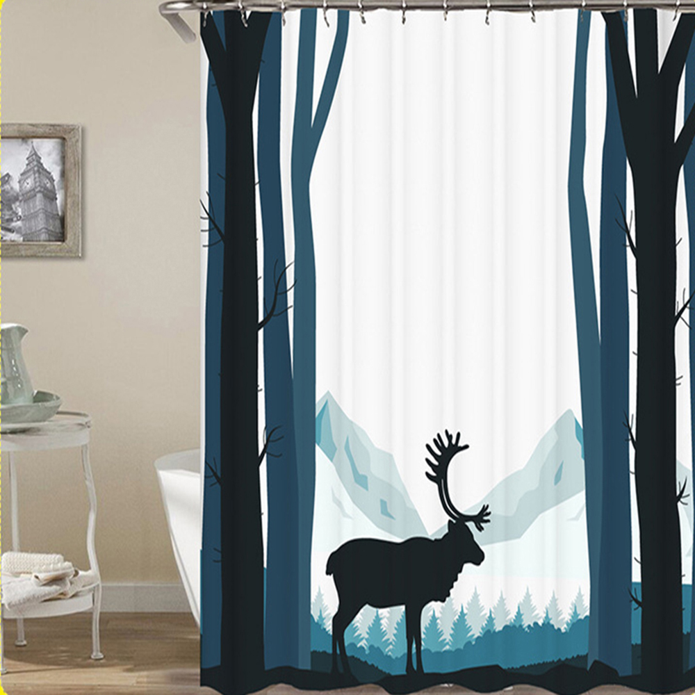 Digital printing waterproof shower curtain high quality bathroom curtain home decoration. ...