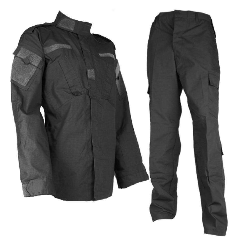 Airsoft Gear Black Tactical Uniform Combat BDU Shirt Pants Set Men Clothing US Army Military Training