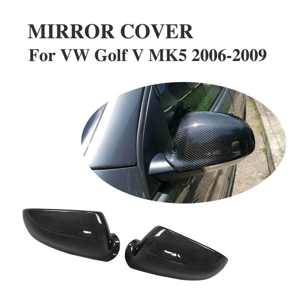 Replacement Carbon Fiber Side rearview mirror caps Covers For VW Golf V MK5 R32 GTI Jetta MK5 06-09 Passat VB6 04-10 abs mirror cover chrome matt painted cap side mirror housings for volkswagen jetta golf 5 passat b6 ct