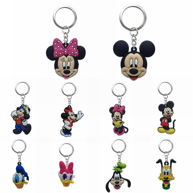 6pcs lot Minnie Cartoon Key chain PVC Anime Figure Mickey Key Ring Keychain Key Holder Trinket Gift Woman Gift Packing Hanging in Key Chains from Jewelry Accessories