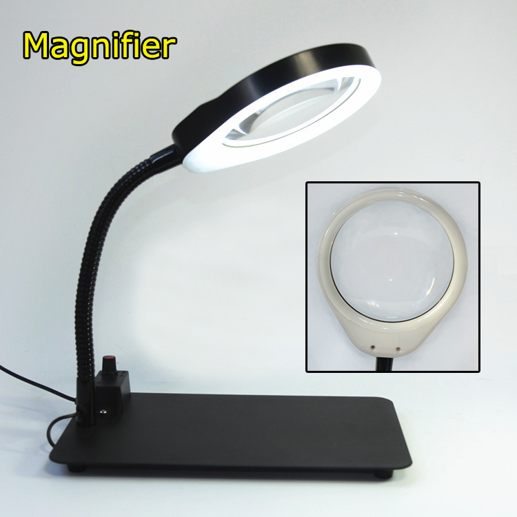 10X magnifying glass Multi-functional desk magnifier lamp Flexible loupe microscope with Light Magnifying Glass Tool цены
