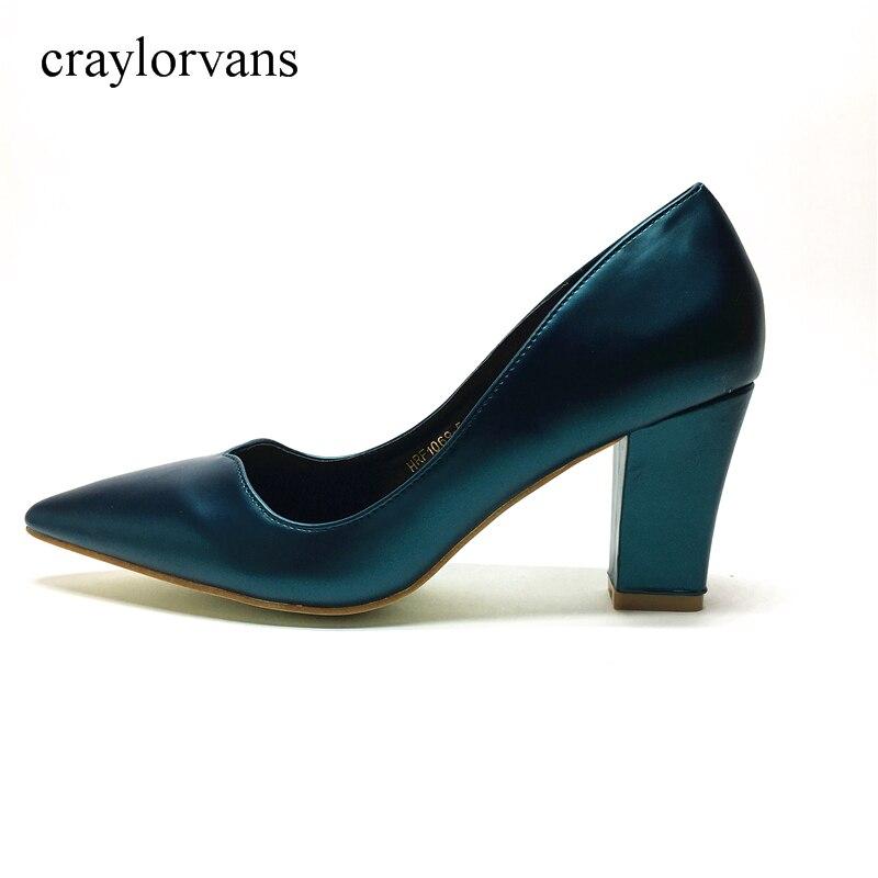 2017 NEW ARRIVE Women Shoes High Heels Pumps Think Heels Wedding Shoes PU Leather Fashion Shoes Woman Blue Heels Ladies Shoes