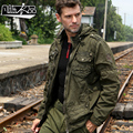 New casual fashion Men's spring autumn war male military style coat leisure armband cap fixture jacket free shipping