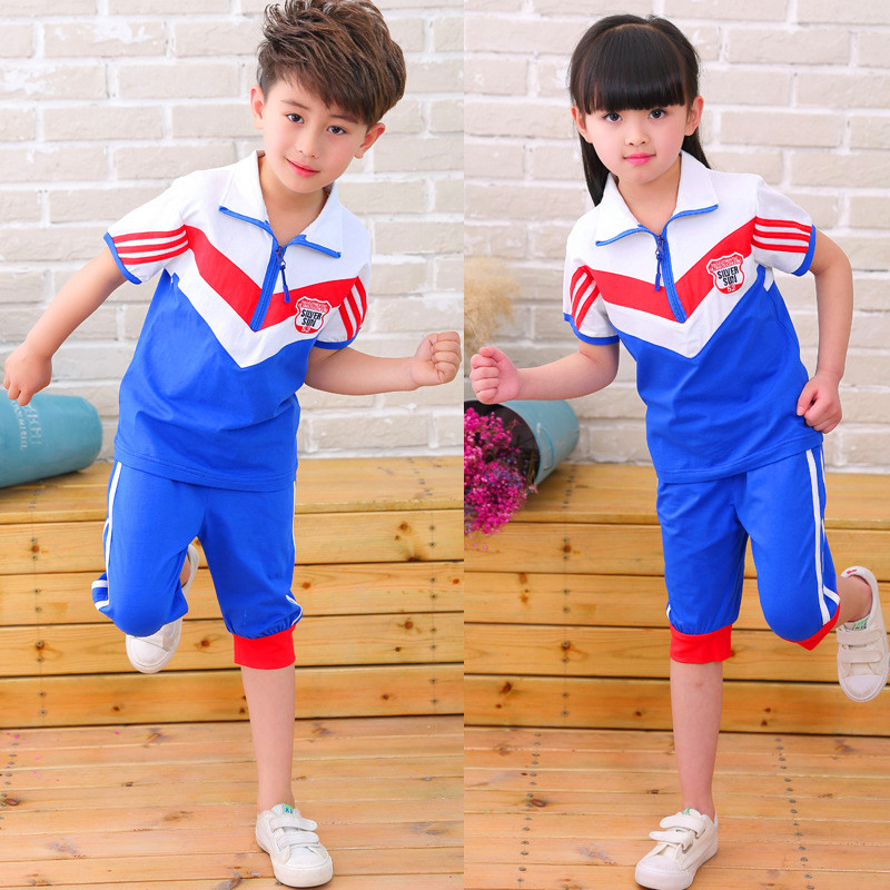 2017 Summer Boys&Girl Sports Clothing sets Cotton garden clothes Kindergarten class Clothing Primary school uniforms For2-12T