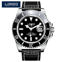 LOREO Black Genuine Leather 200M Diving Military Mechanical Luxury Men Sports Watches Fashion Automatic Wristwatches Male