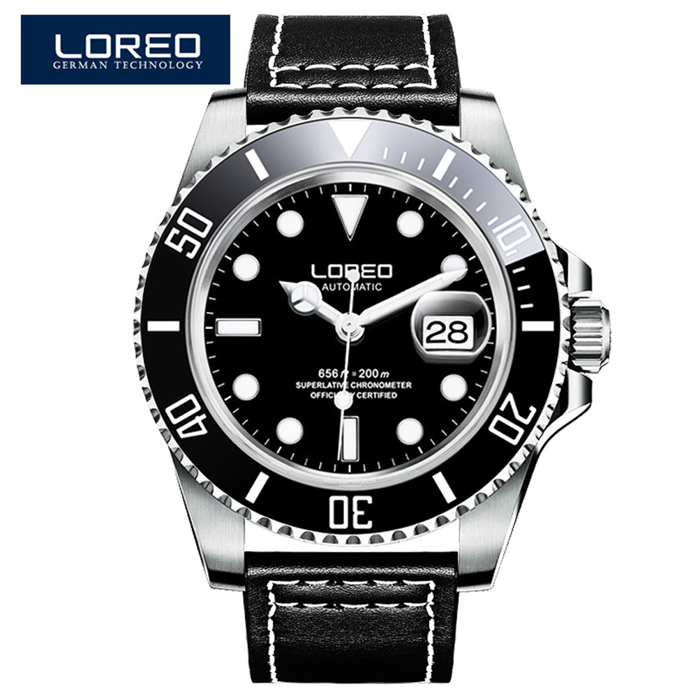 цены LOREO Black Genuine Leather 200M Diving Military Mechanical Luxury Men Sports Watches Fashion Automatic Wristwatches Male