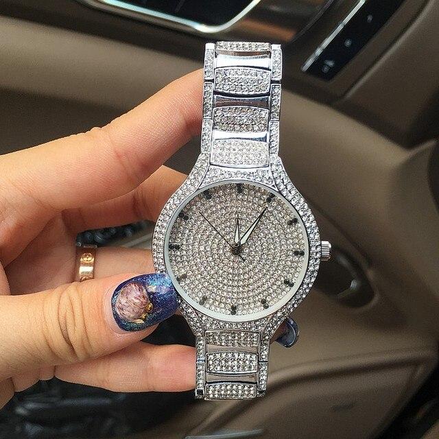 Luxury Women Watch Fashion Women Full Crystal Diamond Wristwatch Analog Stainless Steel Quartz Watch Female Dress Relogio OP001