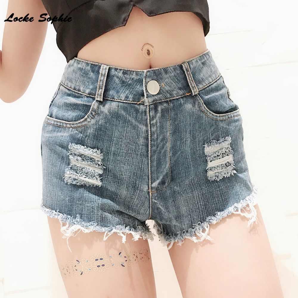 1 sztuk wysokiej talii Sexy kobiet dżinsy spodenki jeansowe 2019 lato moda denim zepsuty otwór szorty damskie Skinny super Sexy krótkie dżinsy