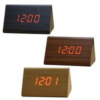 Decorative Table Clocks Control Sensing Alarm Temp Dual Display Electronic LED Vintage Wooden Digital Alarm Clock
