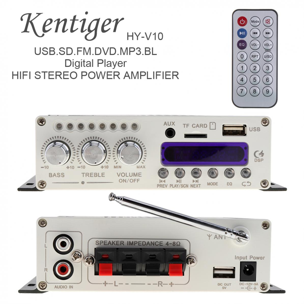 <font><b>HY</b></font>-<font><b>V10</b></font> DC 12V 20W x 2 2CH HI-FI Bluetooth Car Audio Power Amplifier FM Radio Player Support SD / DVD / USB / MP3 Input image