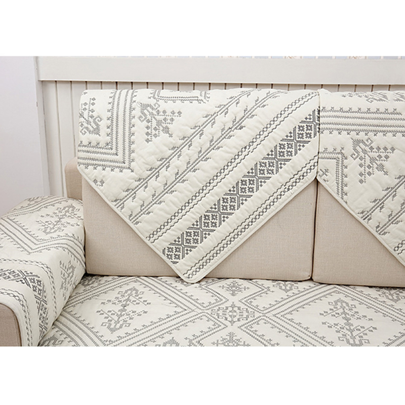 1Pcs Plaid Pattern Sofa Cover European Style Embroidered Slipcover ...