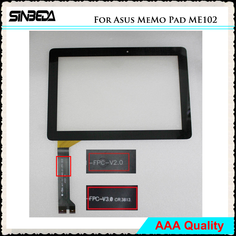 Sinbeda For Asus MeMo Pad 10 ME102 ME102A FPC V2.0/ V3.0 Touch Screen Panel Digitizer Glass Replacement Parts 10.1 White/Black