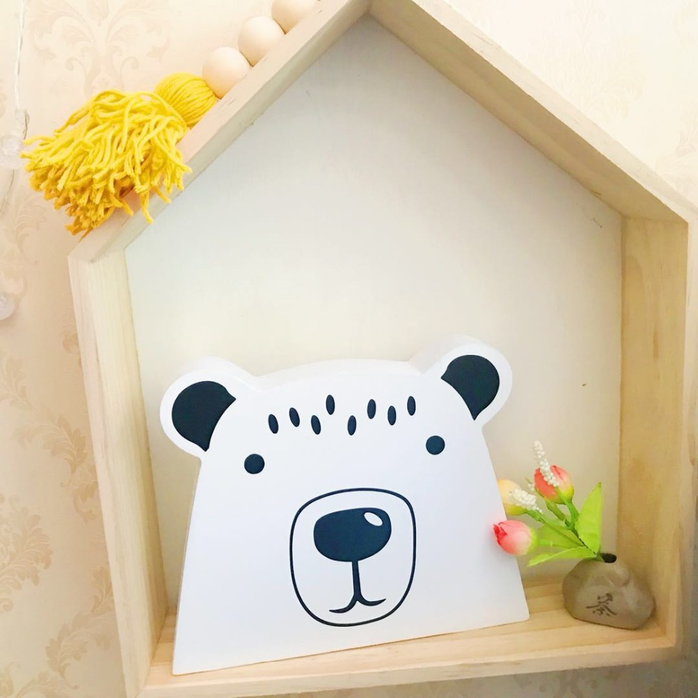 Wooden Bear Ornaments Children's Room Decoration Toys Baby Girl Room Decor Birthday Christmas Present Photography Props