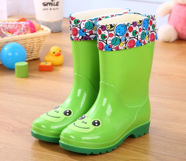 Children's Water Shoes Waterproof Children Rainboots Soild Candy Colors Rubber Warm Boys Girls Rain Boots Children Rain Shoes