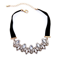 Vintage jewelry for party women elegant black with clear crystal gothic collares mujer choker necklace