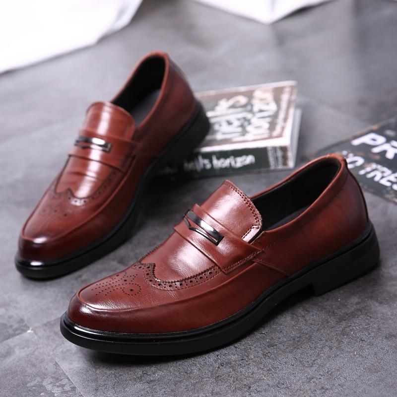 Thestron robe chaussures hommes mode hommes chaussures sans lacet marque chine formelle hommes chaussures haute qualité affaires chaussures en cuir marron nouveau
