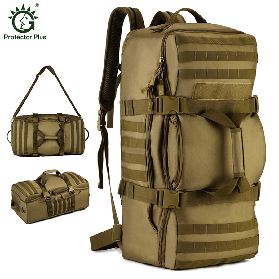 60L Men Camping Waterproof Travel Military Army Bags Outdoor Sport Molle Tactical Rucksacks Large Capacity Camouflage Hiking Bag 65l men outdoor army military tactical bag backpack large size camping hiking rifle bag trekking sport rucksacks climbing bags